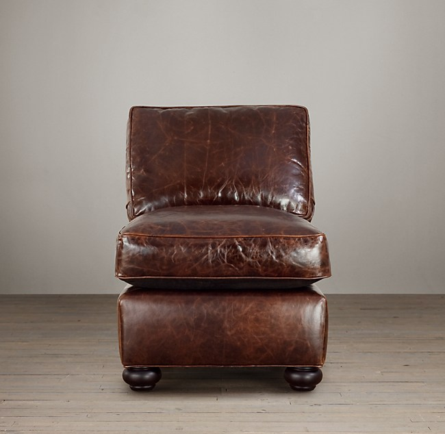 Armless Leather Chairs lancaster leather armless chair
