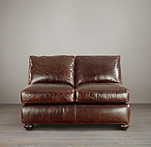 Classic Lancaster Leather Armless Sofa