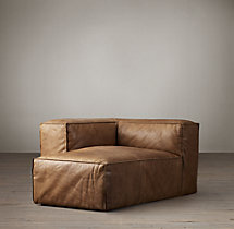 Fulham Leather Left-Arm Chaise