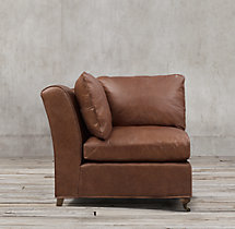 Belgian Classic Roll Arm Leather Corner Chair