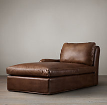 Belgian Classic Roll Arm Leather Left-Arm Chaise