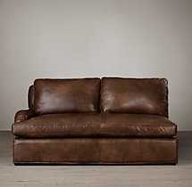 Belgian Classic Roll Arm Leather Left-Arm Sofa