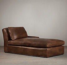 Belgian Classic Roll Arm Leather Right-Arm Chaise