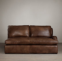 Belgian Classic Roll Arm Leather Right-Arm Sofa