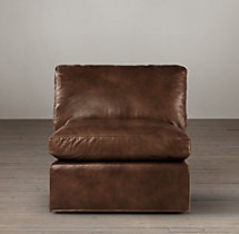 Belgian Roll Arm Leather Armless Chair