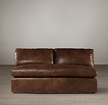 Belgian Roll Arm Leather Armless Sofa