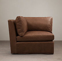 Belgian Roll Arm Leather Corner Chair