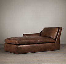 Belgian Roll Arm Leather Left-Arm Chaise