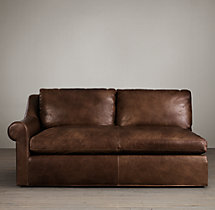 Belgian Roll Arm Leather Left-Arm Sofa