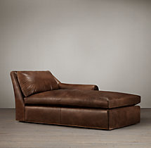 Belgian Roll Arm Leather Right-Arm Chaise