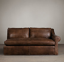 Belgian Roll Arm Leather Right-Arm Sofa