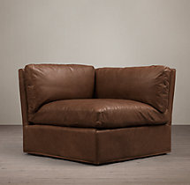 Belgian Shelter Arm Leather Corner Chair