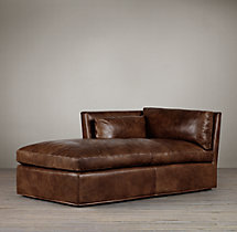 Belgian Shelter Arm Leather Left-Arm Chaise