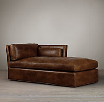 Belgian Shelter Arm Leather Right-Arm Chaise