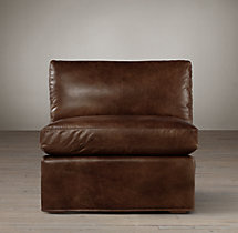 Belgian Slope Arm Leather Armless Chair