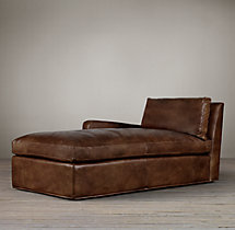 Belgian Slope Arm Leather Left-Arm Chaise