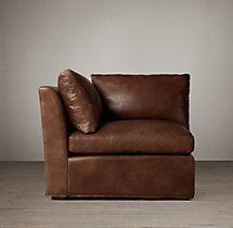 Belgian Track Arm Leather Corner Chair