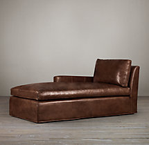 Belgian Track Arm Leather Left-Arm Chaise