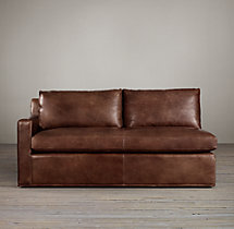 Belgian Track Arm Leather Left-Arm Sofa