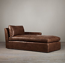 Belgian Track Arm Leather Right-Arm Chaise
