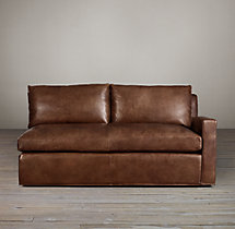 Belgian Track Arm Leather Right-Arm Sofa