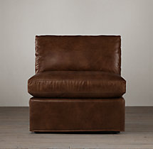 Belgian Classic Slope Arm Leather Armless Chair
