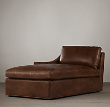 Belgian Classic Slope Arm Leather Left-Arm Chaise