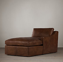 Belgian Classic Slope Arm Leather Right-Arm Chaise