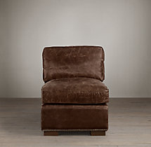 Collins Leather Armless Chair With Nailheads