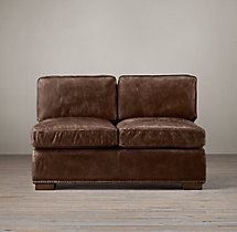 Collins Leather Armless Sofa With Nailheads