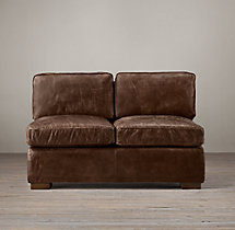Collins Leather Armless Sofa