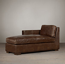 Collins Leather Left-Arm Chaise Without Nailheads