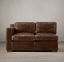 Collins Leather Left-Arm Sofa With Nailheads