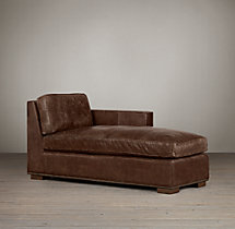 Collins Leather Right-Arm Chaise With Nailheads