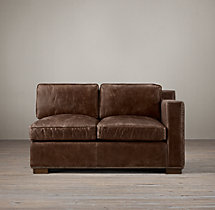 Collins Leather Right-Arm Sofa With Nailheads