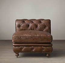 Kensington Leather Armless Chair