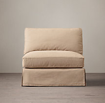Grand-Scale Roll Arm Slipcovered Armless Chair