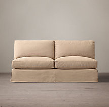 Grand-Scale Roll Arm Slipcovered Armless Sofa