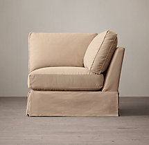 Grand-Scale Roll Arm Slipcovered Corner Chair