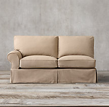 Grand-Scale Roll Arm Slipcovered Left-Arm Sofa