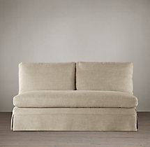 Belgian Classic Roll Arm Slipcovered Armless Sofa