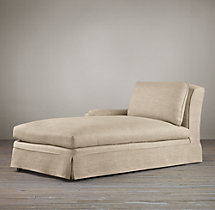 Belgian Classic Roll Arm Slipcovered Left-Arm Chaise