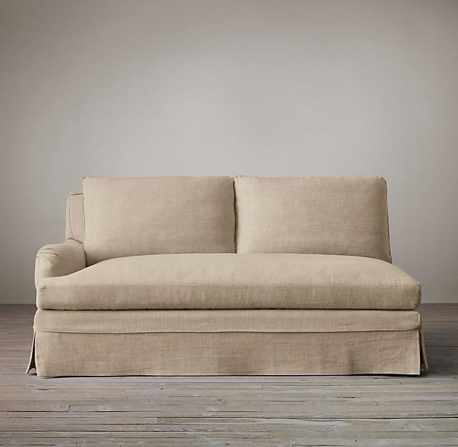 Belgian Classic Roll Arm Slipcovered Left Arm Sofa