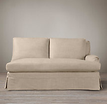 Belgian Classic Roll Arm Slipcovered Right-Arm Sofa