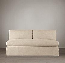 Belgian Classic Slope Arm Slipcovered Armless Sofa