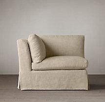 Belgian Classic Slope Arm Slipcovered Corner Chair