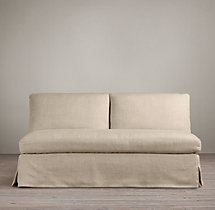 Belgian Roll Arm Slipcovered Armless Sofa