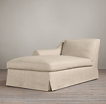 Belgian Roll Arm Slipcovered Left-Arm Chaise