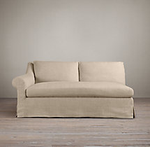 Belgian Roll Arm Slipcovered Left-Arm Sofa