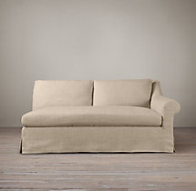 Belgian Roll Arm Slipcovered Right-Arm Sofa